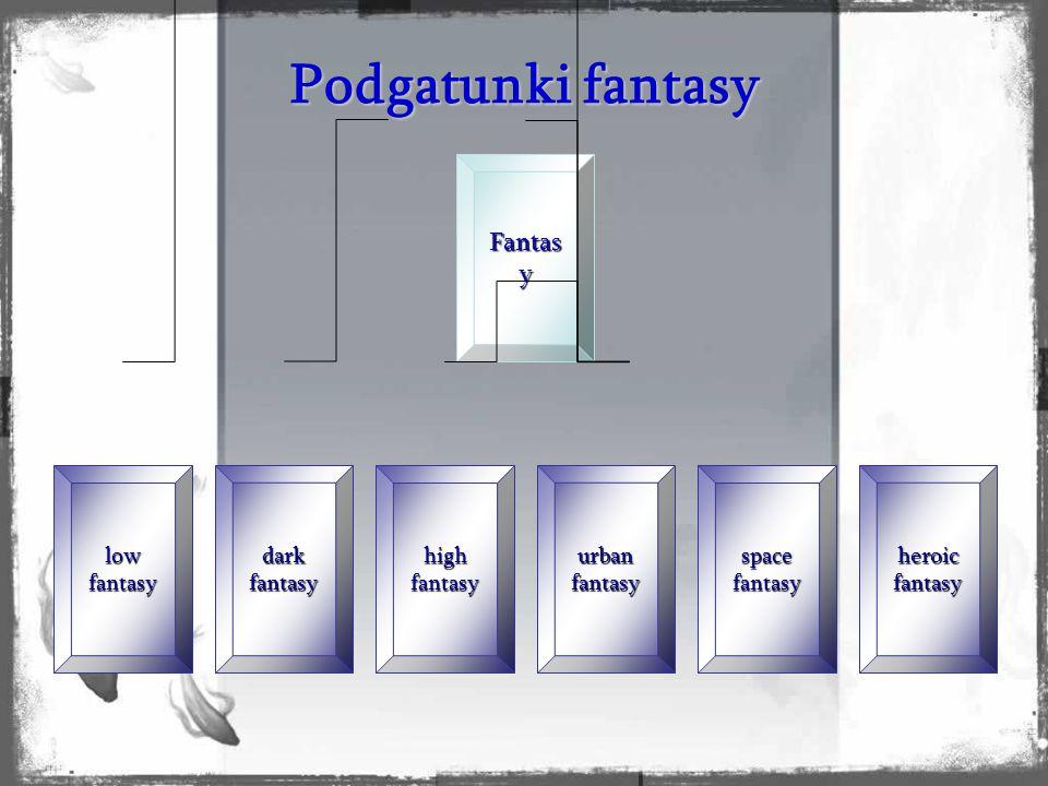 """Podgatunki fantasy Podgrupy owe nie oznaczają większych różnic w samej treści, czy w ideach propagowanych przez autorów, lecz raczej w stylu pisania, źródłach inspiracji oraz w ogólnym """"nastroju dominującym w utworach, na przykład mrocznym, baśniowym, heroicznym, pseudohistorycznym, dziejów alternatywnych, postapokaliptycznym, czy religijnym."""