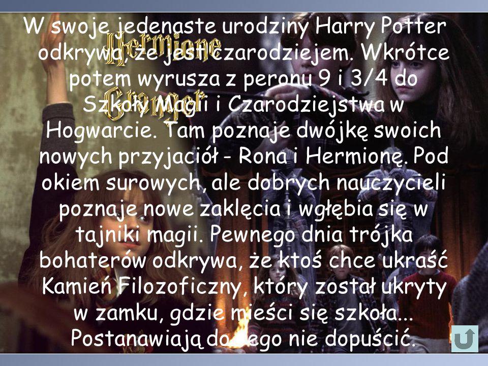 W swoje jedenaste urodziny Harry Potter odkrywa, że jest czarodziejem. Wkrótce potem wyrusza z peronu 9 i 3/4 do Szkoły Magii i Czarodziejstwa w Hogwa