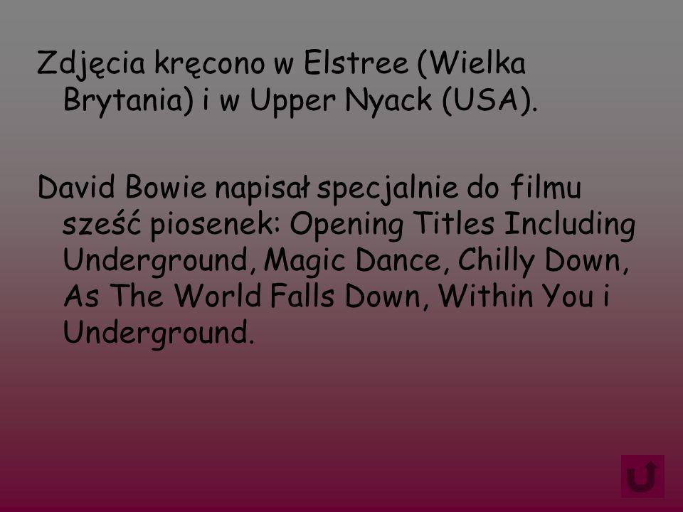 Zdjęcia kręcono w Elstree (Wielka Brytania) i w Upper Nyack (USA). David Bowie napisał specjalnie do filmu sześć piosenek: Opening Titles Including Un