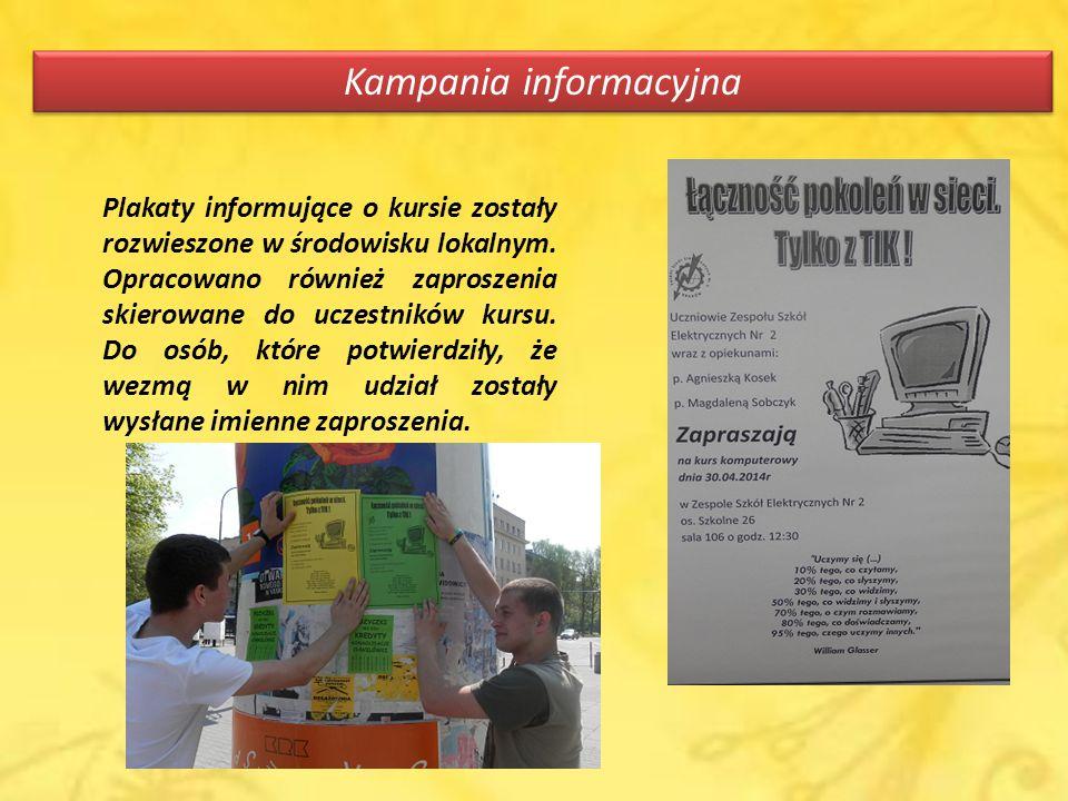Kampania informacyjna Plakaty informujące o kursie zostały rozwieszone w środowisku lokalnym.
