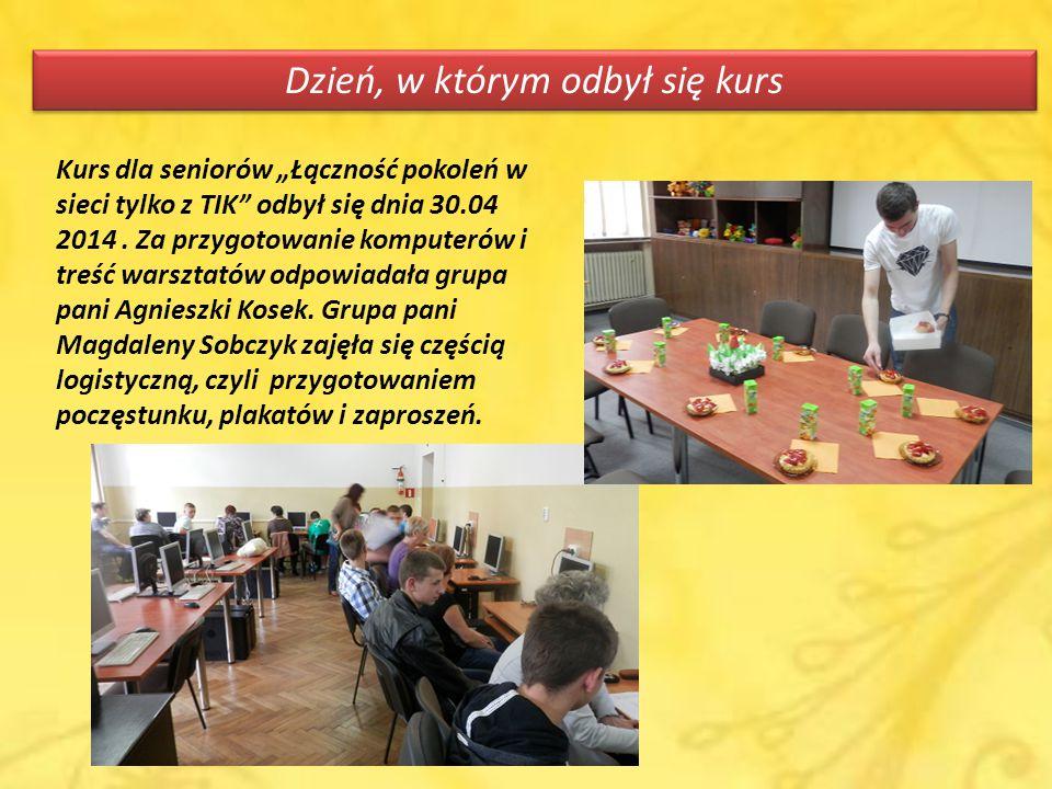 """Dzień, w którym odbył się kurs Kurs dla seniorów """"Łączność pokoleń w sieci tylko z TIK odbył się dnia 30.04 2014."""
