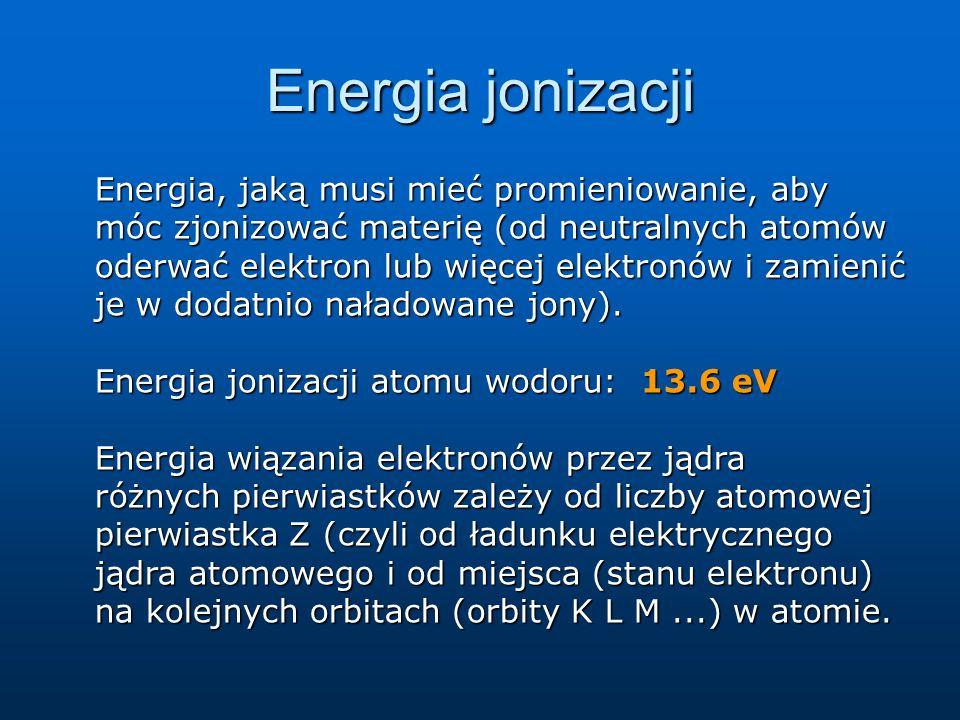 Rozpad radioaktywnych jąder alfa ( jądra atomu helu, 2 protony i 2 neutrony ) masa cząsteczki alfa A=4, ładunek Z=2 alfa ( jądra atomu helu, 2 protony i 2 neutrony ) masa cząsteczki alfa A=4, ładunek Z=2 beta (elektrony, ale jest też promieniowanie beta plus, które stanowią pozytony czyli cząstki identyczne jak elektron ale z dodatnim ładunkiem elektrycznym) masa 1840 razy mniejsza od masy protonu ale A=0, ładunek elektryczny Z= -1 lub +1 beta (elektrony, ale jest też promieniowanie beta plus, które stanowią pozytony czyli cząstki identyczne jak elektron ale z dodatnim ładunkiem elektrycznym) masa 1840 razy mniejsza od masy protonu ale A=0, ładunek elektryczny Z= -1 lub +1 gamma ( o naturze fal elektromagnetycznych ) energie pojedynczych od ok.