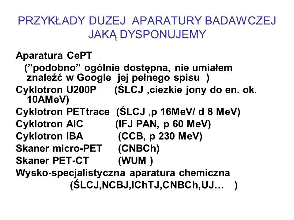 PRZYKŁADY DUZEJ APARATURY BADAWCZEJ JAKĄ DYSPONUJEMY Aparatura CePT ( podobno ogólnie dostępna, nie umiałem znaleźć w Google jej pełnego spisu ) Cyklotron U200P (ŚLCJ,ciezkie jony do en.