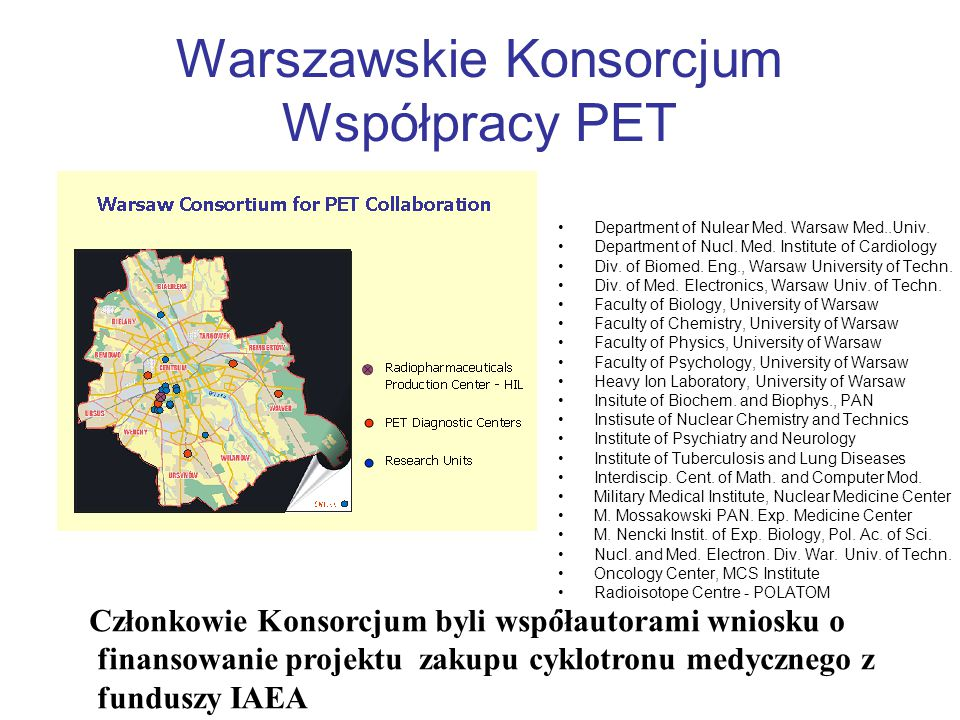 Warszawskie Konsorcjum Współpracy PET Department of Nulear Med. Warsaw Med..Univ. Department of Nucl. Med. Institute of Cardiology Div. of Biomed. Eng