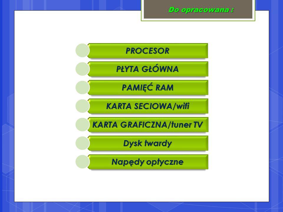 Do opracowana : PROCESOR PŁYTA GŁÓWNA PAMIĘĆ RAM KARTA SECIOWA/wifi KARTA GRAFICZNA/tuner TV Dysk twardy Napędy optyczne