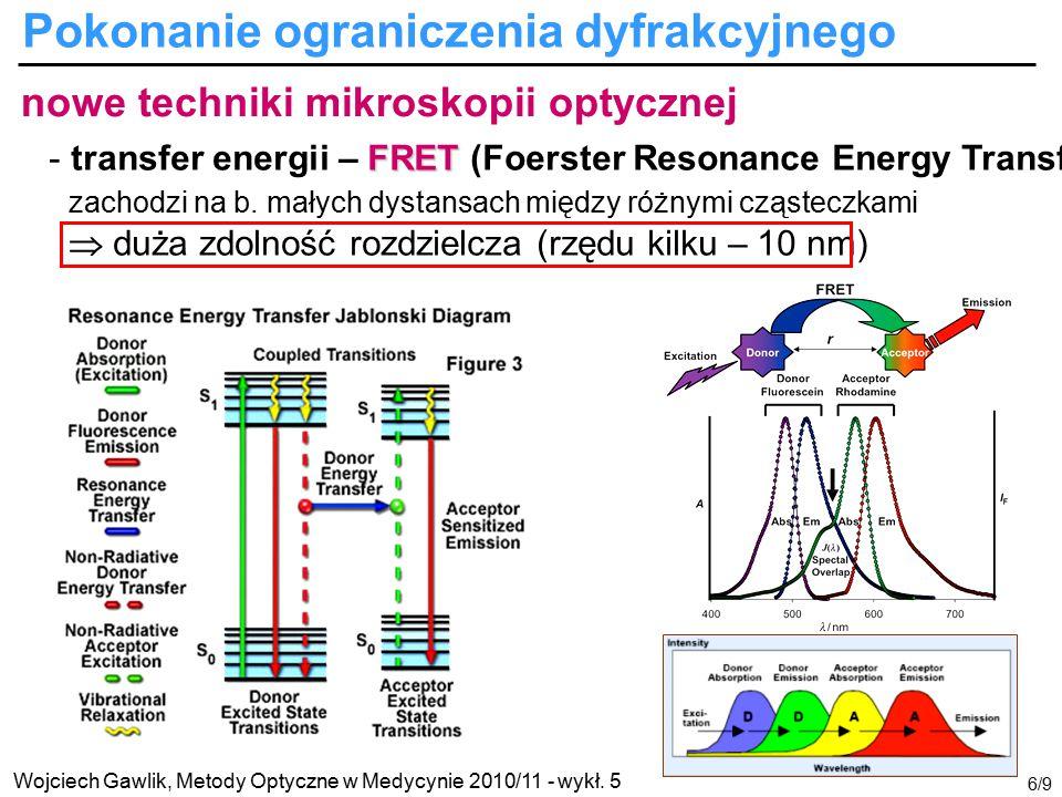 Wojciech Gawlik, Metody Optyczne w Medycynie 2010/11 - wykł. 5 6/9 nowe techniki mikroskopii optycznej FRET - transfer energii – FRET (Foerster Resona