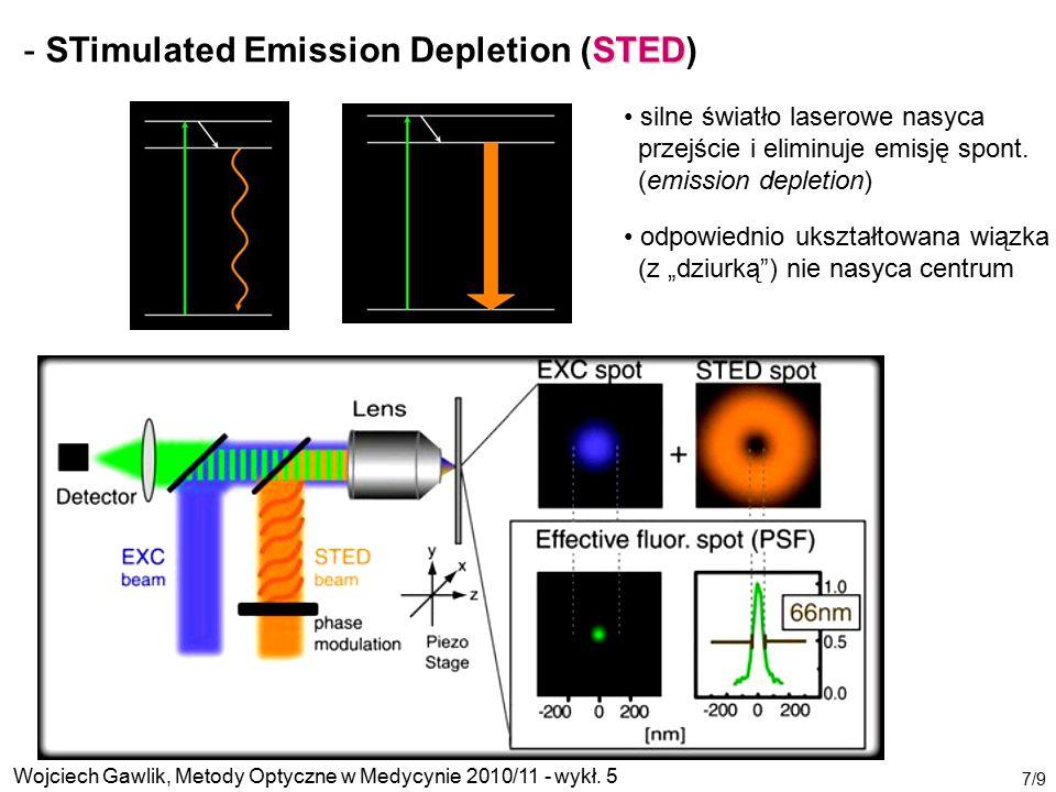 Wojciech Gawlik, Metody Optyczne w Medycynie 2010/11 - wykł. 5 7/9 STED - STimulated Emission Depletion (STED) silne światło laserowe nasyca przejście