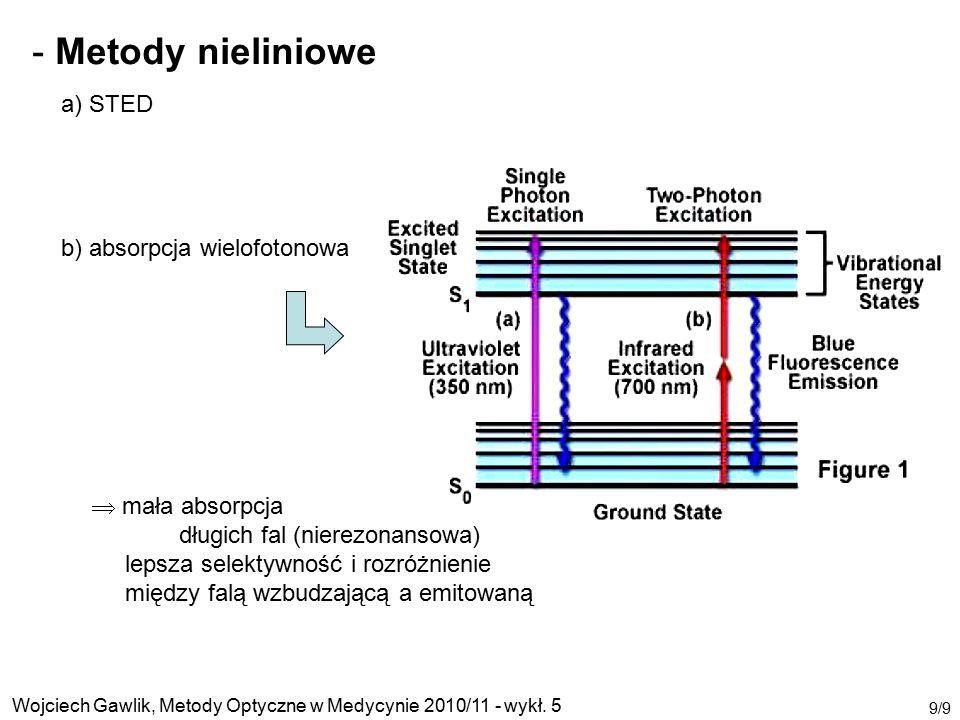 Wojciech Gawlik, Metody Optyczne w Medycynie 2010/11 - wykł. 5 9/9 - Metody nieliniowe a) STED b) absorpcja wielofotonowa  mała absorpcja długich fal