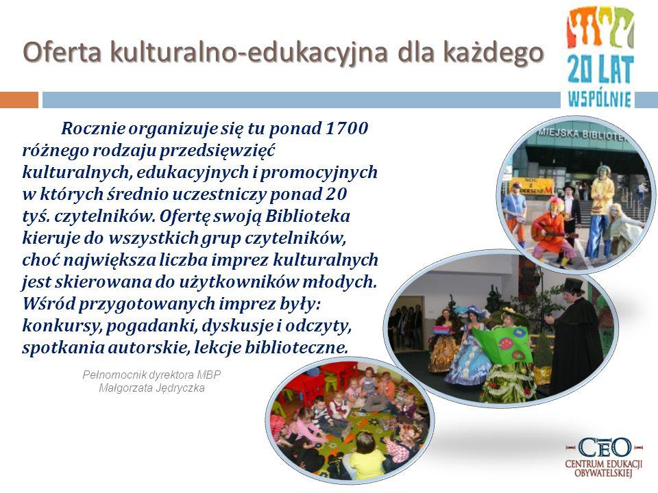 Oferta kulturalno-edukacyjna dla każdego Rocznie organizuje się tu ponad 1700 różnego rodzaju przedsięwzięć kulturalnych, edukacyjnych i promocyjnych w których średnio uczestniczy ponad 20 tyś.