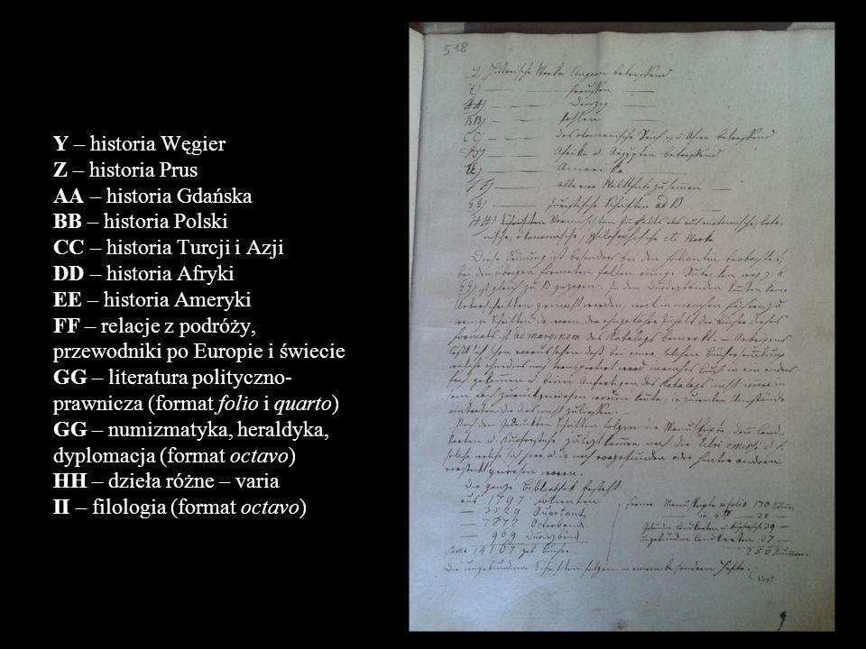 Y – historia Węgier Z – historia Prus AA – historia Gdańska BB – historia Polski CC – historia Turcji i Azji DD – historia Afryki EE – historia Ameryk