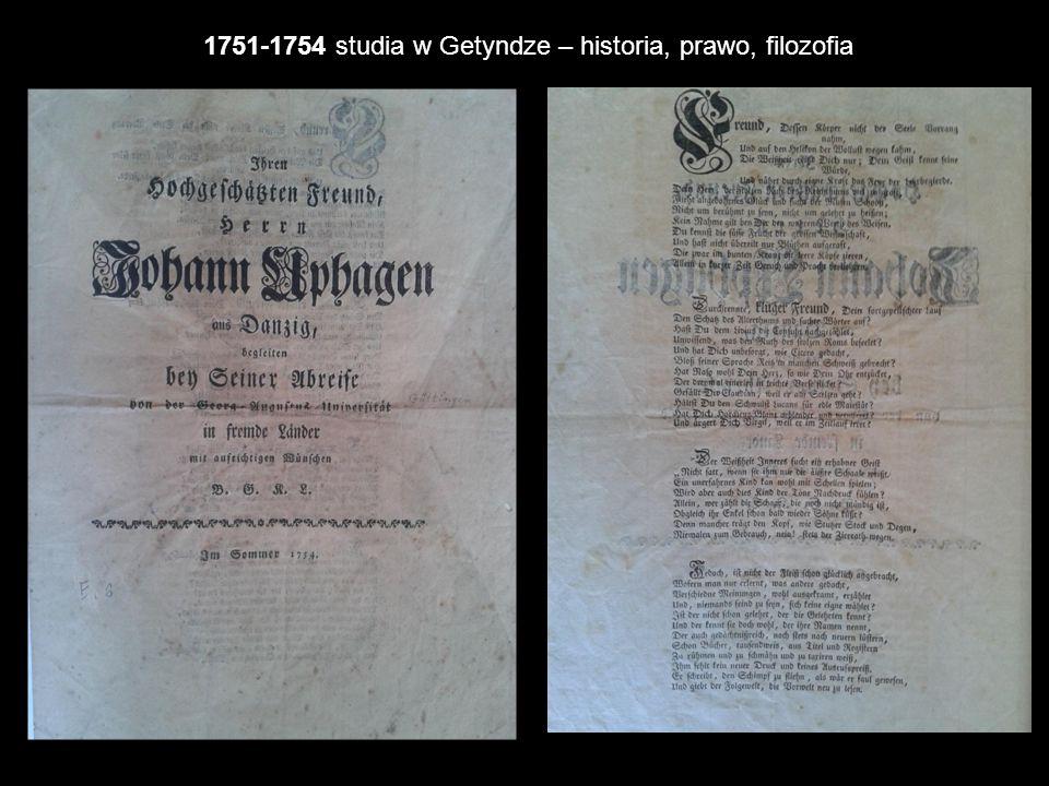 1751-1754 studia w Getyndze – historia, prawo, filozofia