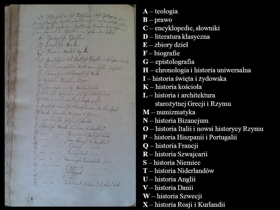 A – teologia B – prawo C – encyklopedie, słowniki D – literatura klasyczna E – zbiory dzieł F – biografie G – epistolografia H – chronologia i histori