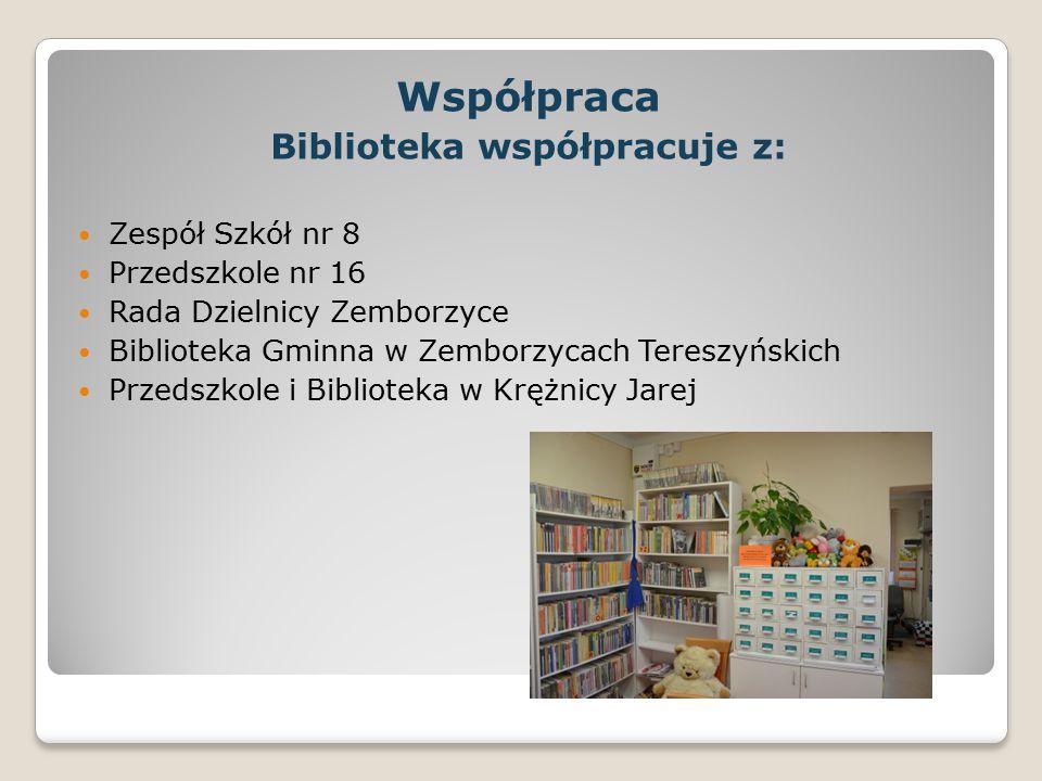 Współpraca Biblioteka współpracuje z: Zespół Szkół nr 8 Przedszkole nr 16 Rada Dzielnicy Zemborzyce Biblioteka Gminna w Zemborzycach Tereszyńskich Prz
