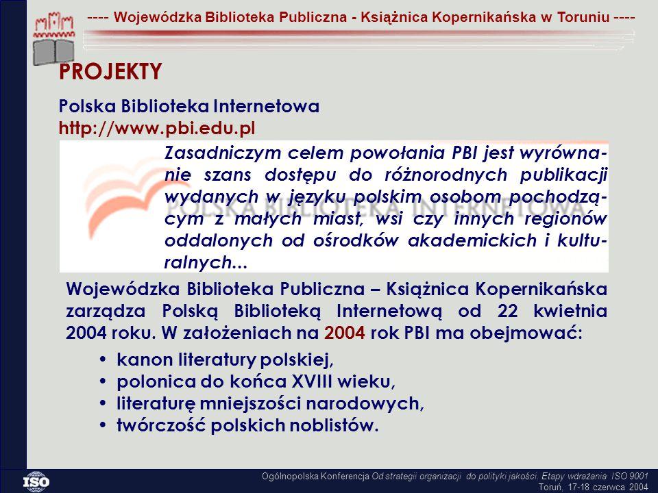 Zasadniczym celem powołania PBI jest wyrówna- nie szans dostępu do różnorodnych publikacji wydanych w języku polskim osobom pochodzą- cym z małych miast, wsi czy innych regionów oddalonych od ośrodków akademickich i kultu- ralnych...
