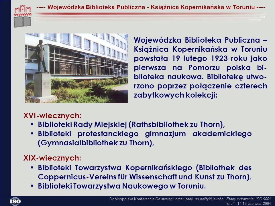 Książnica Kopernikańska, od chwili powstania, pełni z racji bogatego księgozbioru pomorzoznawczego funkcję biblioteki regionalnej.