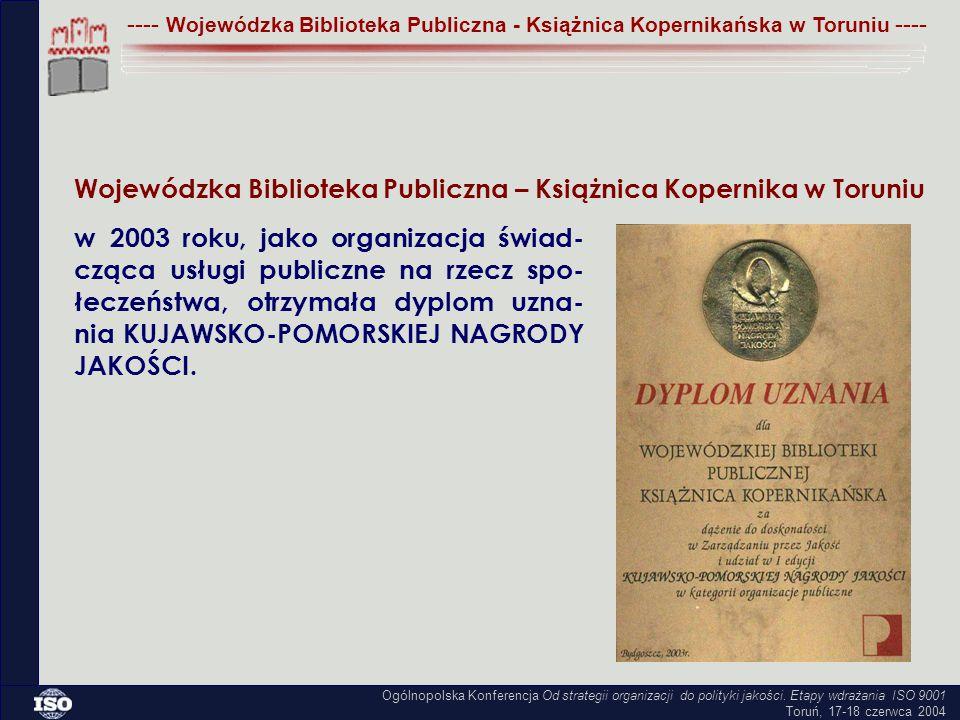 Wojewódzka Biblioteka Publiczna – Książnica Kopernika w Toruniu w 2003 roku, jako organizacja świad- cząca usługi publiczne na rzecz spo- łeczeństwa, otrzymała dyplom uzna- nia KUJAWSKO-POMORSKIEJ NAGRODY JAKOŚCI.