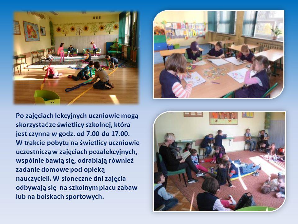 Po zajęciach lekcyjnych uczniowie mogą skorzystać ze świetlicy szkolnej, która jest czynna w godz. od 7.00 do 17.00. W trakcie pobytu na świetlicy ucz
