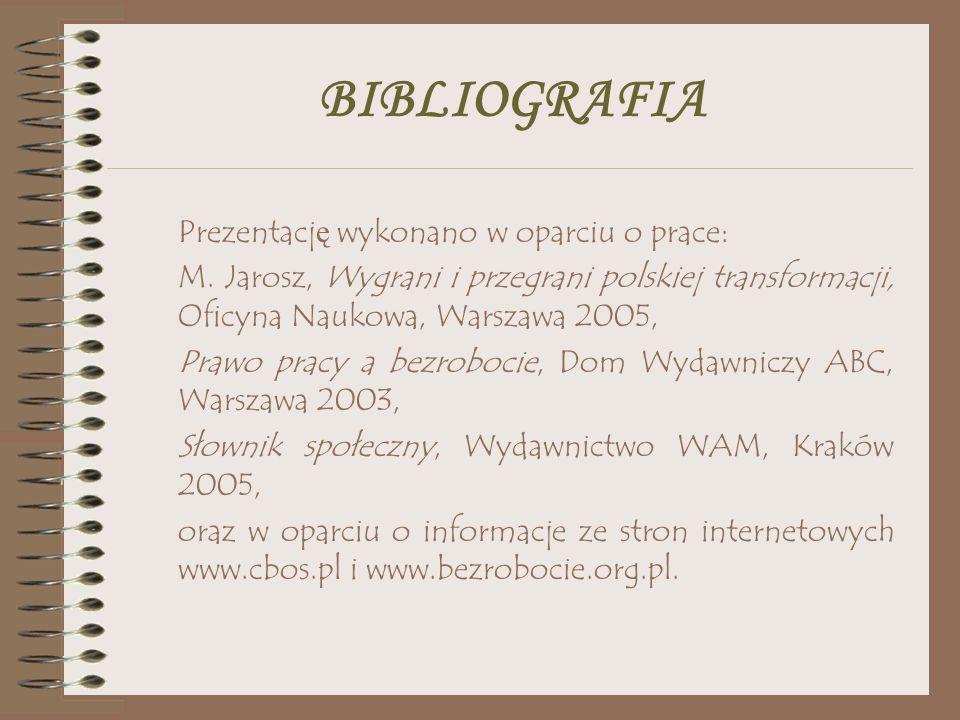 BIBLIOGRAFIA Prezentacj ę wykonano w oparciu o prace: M. Jarosz, Wygrani i przegrani polskiej transformacji, Oficyna Naukowa, Warszawa 2005, Prawo pra
