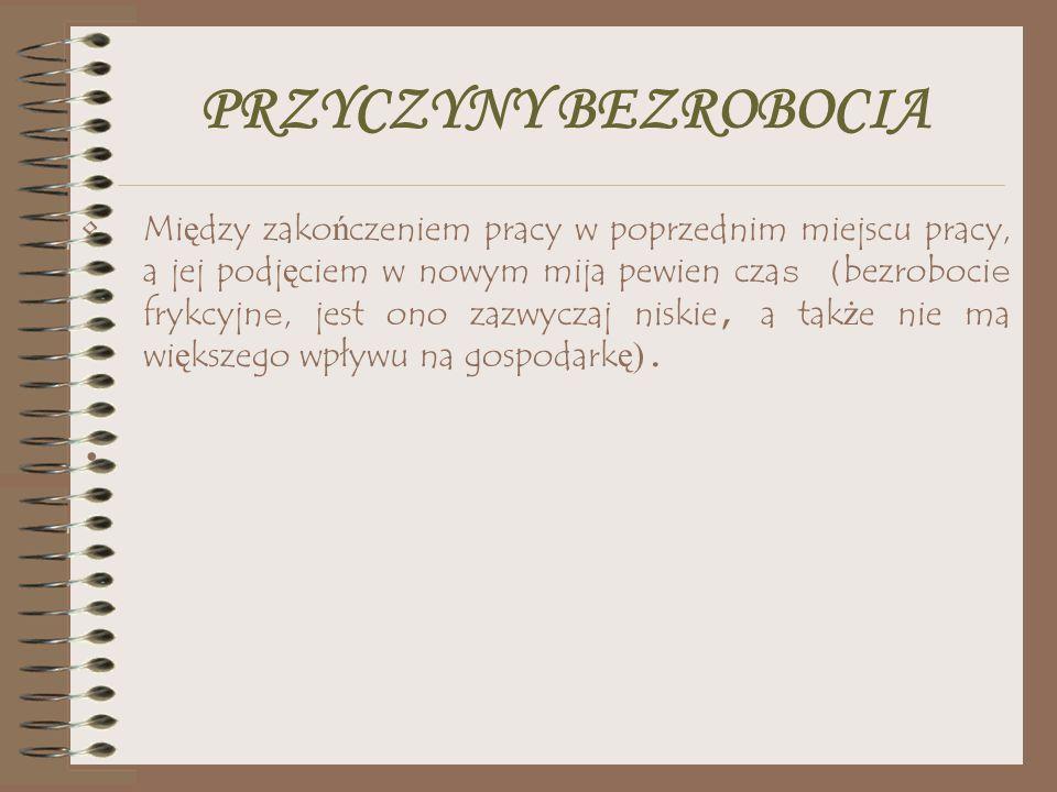 PRZYCZYNY BEZROBOCIA Osoby poprzednio pracuj ą ce mogły straci ć prac ę ze wzgl ę du na przekształcenia gospodarcze, zmiany technologiczne czy upadek całych gał ę zi przemysłu (bezrobocie strukturalne) - w Polsce jest to bardzo du ż a grupa, co jest spowodowane mi ę dzy innymi nadmiernym zatrudnieniem w okresie gospodarki planowanej, a tak ż e restrukturyzacj ą przemysłu - do tej grupy bezrobotnych nale żą m.in.