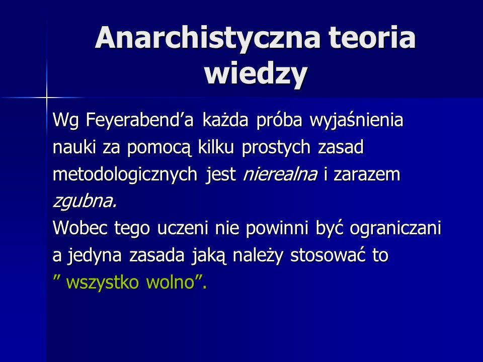 Anarchistyczna teoria wiedzy Wg Feyerabend'a każda próba wyjaśnienia nauki za pomocą kilku prostych zasad metodologicznych jest nierealna i zarazem zg