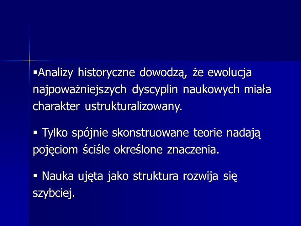  Analizy historyczne dowodzą, że ewolucja najpoważniejszych dyscyplin naukowych miała charakter ustrukturalizowany.  Tylko spójnie skonstruowane teo