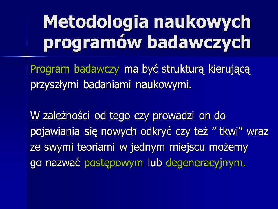 Metodologia naukowych programów badawczych Program badawczy ma być strukturą kierującą przyszłymi badaniami naukowymi. W zależności od tego czy prowad