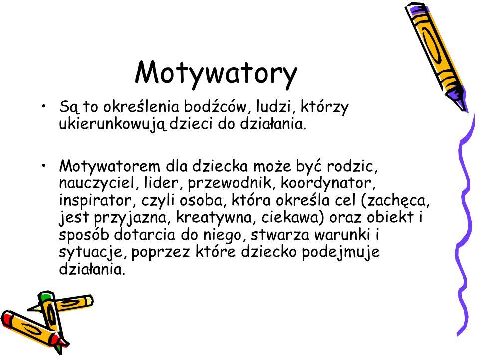Motywatory Są to określenia bodźców, ludzi, którzy ukierunkowują dzieci do działania. Motywatorem dla dziecka może być rodzic, nauczyciel, lider, prze
