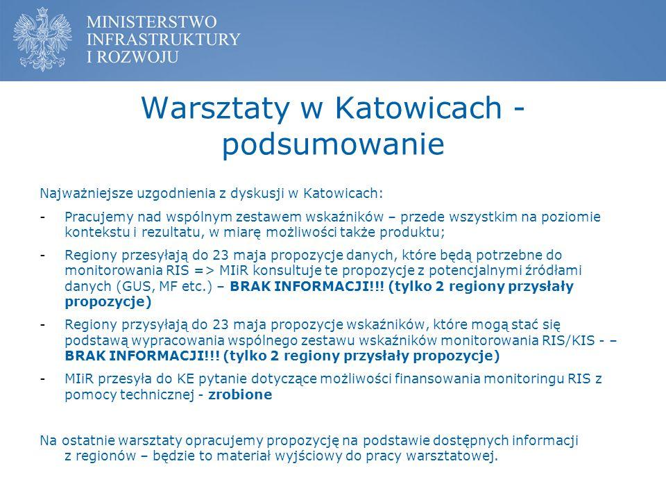 Warsztaty w Katowicach - podsumowanie Najważniejsze uzgodnienia z dyskusji w Katowicach: -Pracujemy nad wspólnym zestawem wskaźników – przede wszystki