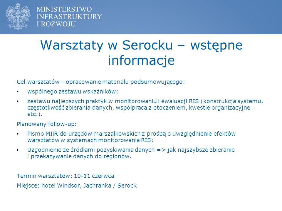 Warsztaty w Serocku – wstępne informacje Cel warsztatów – opracowanie materiału podsumowującego: wspólnego zestawu wskaźników; zestawu najlepszych pra