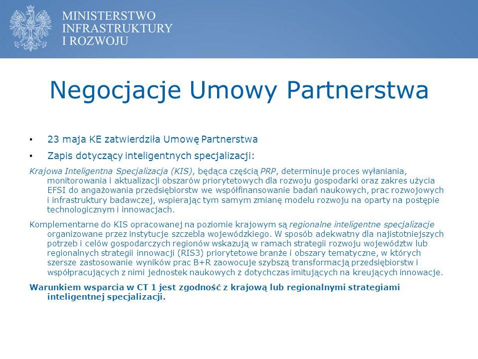 Negocjacje Umowy Partnerstwa 23 maja KE zatwierdziła Umowę Partnerstwa Zapis dotyczący inteligentnych specjalizacji: Krajowa Inteligentna Specjalizacj