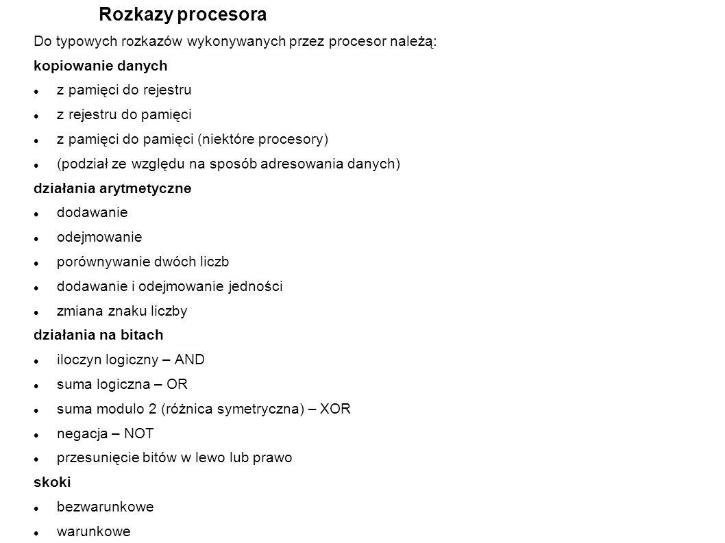 Rozkazy procesora Do typowych rozkazów wykonywanych przez procesor należą: kopiowanie danych z pamięci do rejestru z rejestru do pamięci z pamięci do