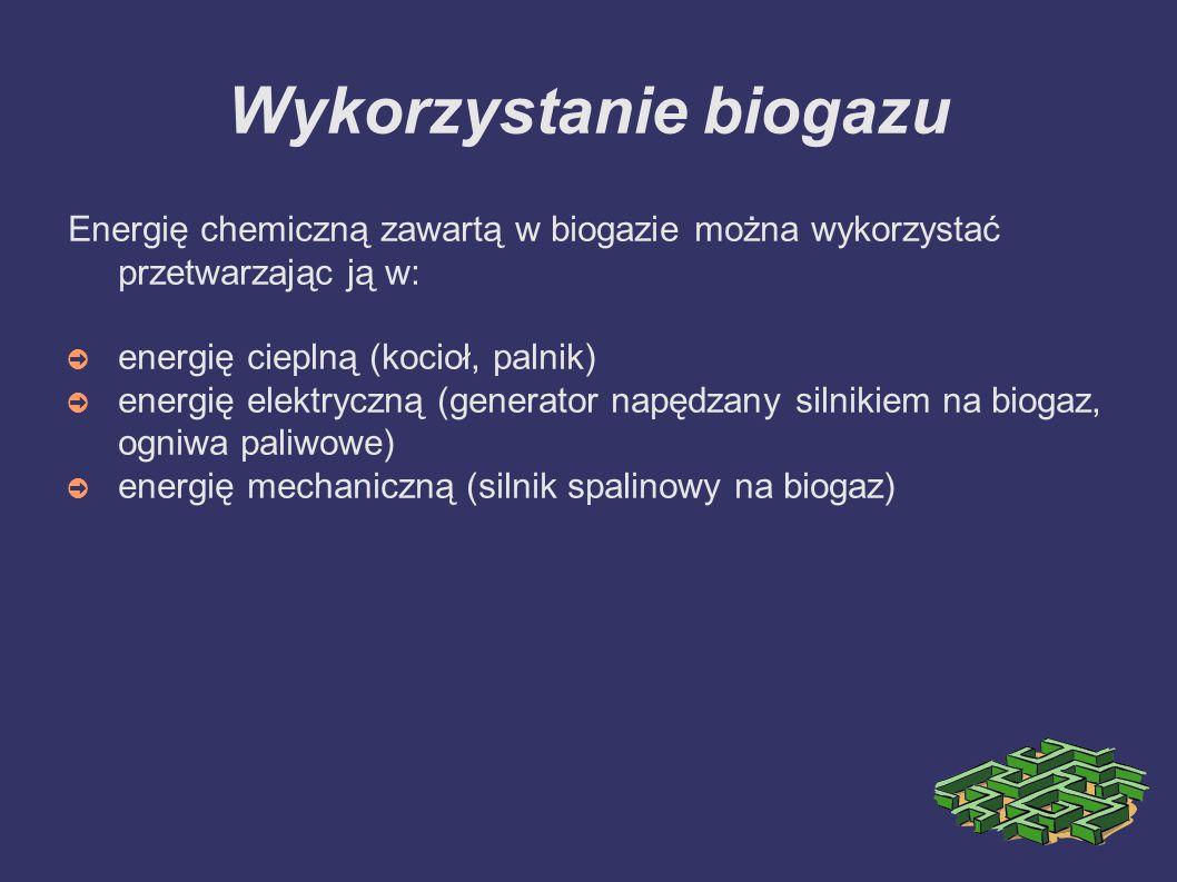 Wykorzystanie biogazu Energię chemiczną zawartą w biogazie można wykorzystać przetwarzając ją w: ➲ energię cieplną (kocioł, palnik) ➲ energię elektryczną (generator napędzany silnikiem na biogaz, ogniwa paliwowe) ➲ energię mechaniczną (silnik spalinowy na biogaz)