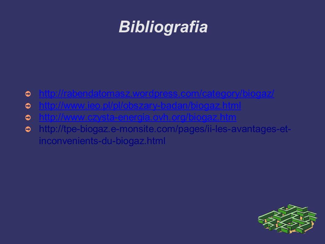 Bibliografia ➲ http://rabendatomasz.wordpress.com/category/biogaz/ http://rabendatomasz.wordpress.com/category/biogaz/ ➲ http://www.ieo.pl/pl/obszary-badan/biogaz.html http://www.ieo.pl/pl/obszary-badan/biogaz.html ➲ http://www.czysta-energia.ovh.org/biogaz.htm http://www.czysta-energia.ovh.org/biogaz.htm ➲ http://tpe-biogaz.e-monsite.com/pages/ii-les-avantages-et- inconvenients-du-biogaz.html