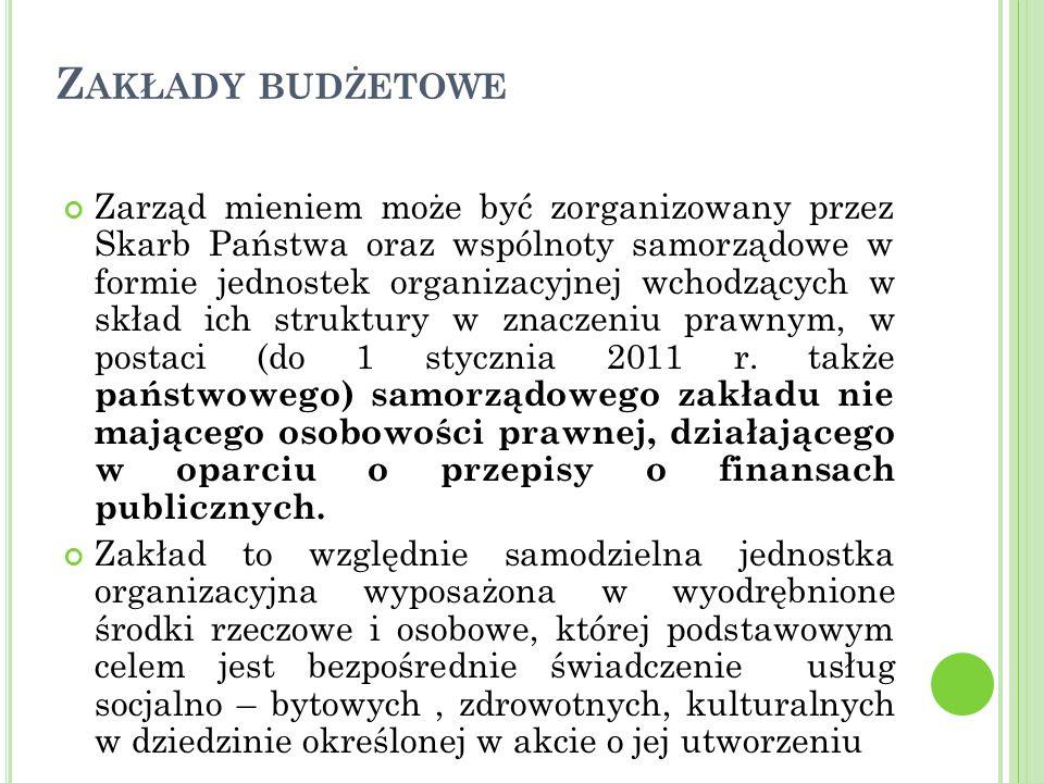 Z AKŁADY BUDŻETOWE Zarząd mieniem może być zorganizowany przez Skarb Państwa oraz wspólnoty samorządowe w formie jednostek organizacyjnej wchodzących w skład ich struktury w znaczeniu prawnym, w postaci (do 1 stycznia 2011 r.