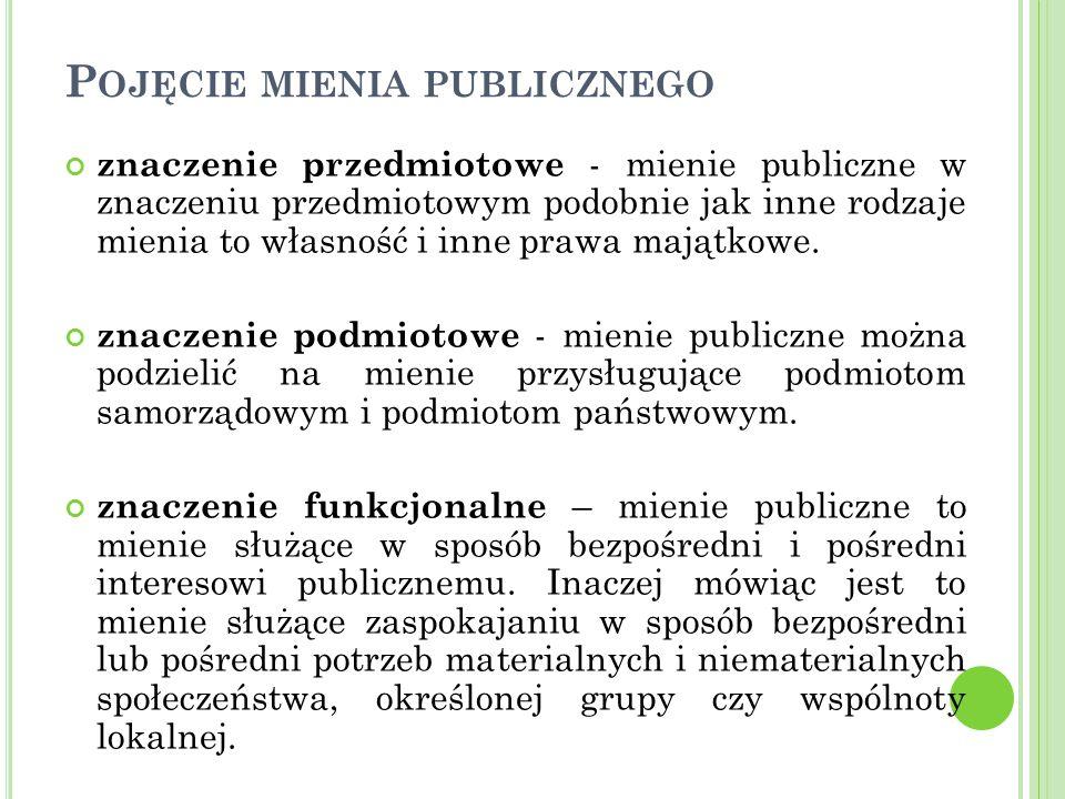 P OJĘCIE MIENIA PUBLICZNEGO znaczenie przedmiotowe - mienie publiczne w znaczeniu przedmiotowym podobnie jak inne rodzaje mienia to własność i inne prawa majątkowe.