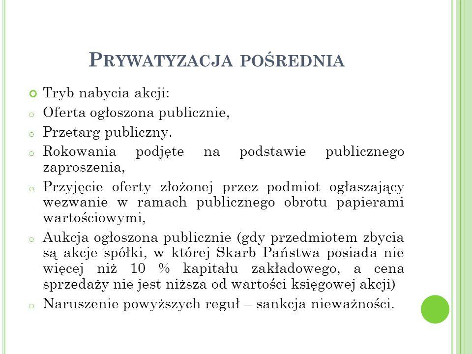 P RYWATYZACJA POŚREDNIA Tryb nabycia akcji: o Oferta ogłoszona publicznie, o Przetarg publiczny.