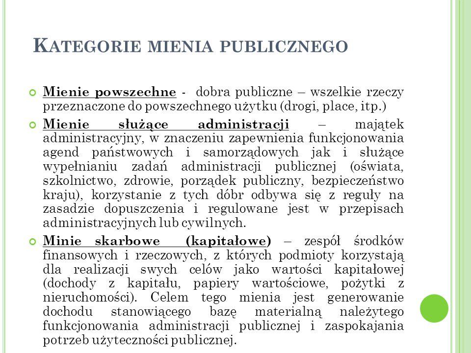 K ATEGORIE MIENIA PUBLICZNEGO Mienie powszechne - dobra publiczne – wszelkie rzeczy przeznaczone do powszechnego użytku (drogi, place, itp.) Mienie służące administracji – majątek administracyjny, w znaczeniu zapewnienia funkcjonowania agend państwowych i samorządowych jak i służące wypełnianiu zadań administracji publicznej (oświata, szkolnictwo, zdrowie, porządek publiczny, bezpieczeństwo kraju), korzystanie z tych dóbr odbywa się z reguły na zasadzie dopuszczenia i regulowane jest w przepisach administracyjnych lub cywilnych.