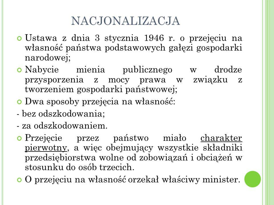NACJONALIZACJA Ustawa z dnia 3 stycznia 1946 r.