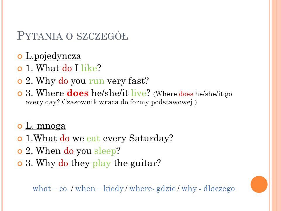 P YTANIA O SZCZEGÓŁ L.pojedyncza 1. What do I like? 2. Why do you run very fast? 3. Where does he/she/it live? (Where does he/she/it go every day? Cza