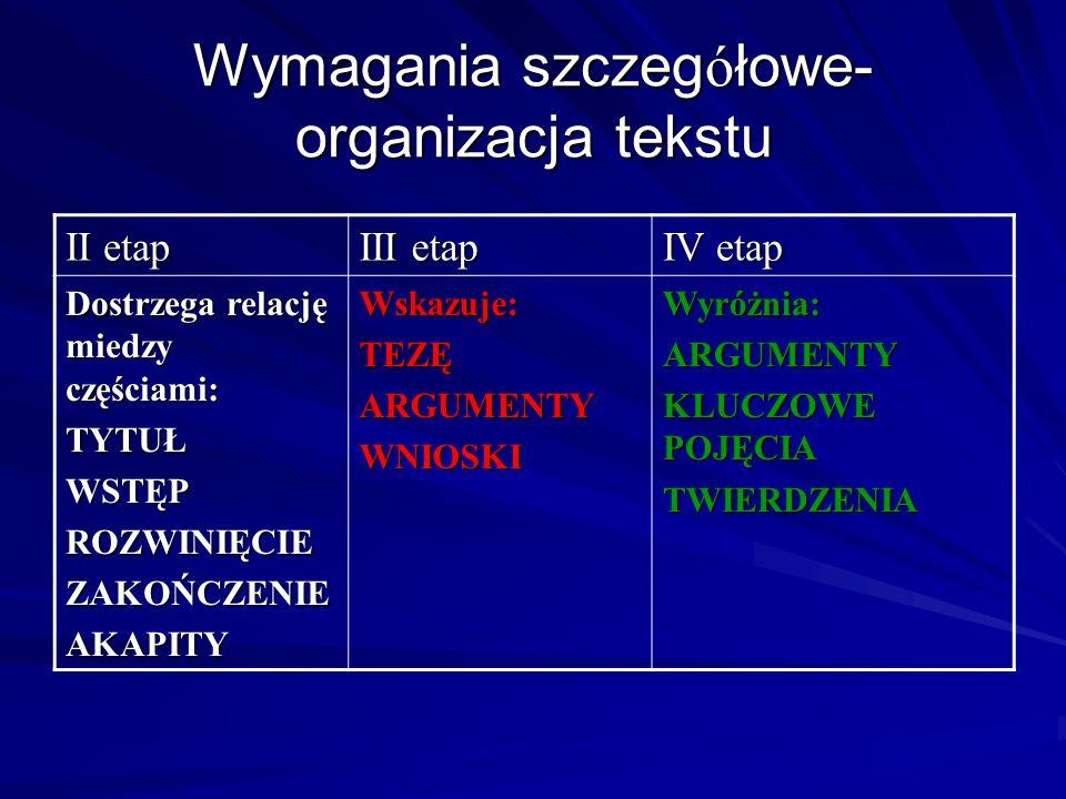 Wymagania szczeg ó łowe- organizacja tekstu II etap III etap IV etap Dostrzega relację miedzy częściami: TYTUŁWSTĘPROZWINIĘCIEZAKOŃCZENIEAKAPITYWskazu