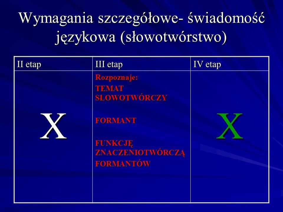 Wymagania szczegółowe- świadomość językowa (słowotwórstwo) II etap III etap IV etap XRozpoznaje: TEMAT SŁOWOTWÓRCZY FORMANT FUNKCJĘ ZNACZENIOTWÓRCZĄ F