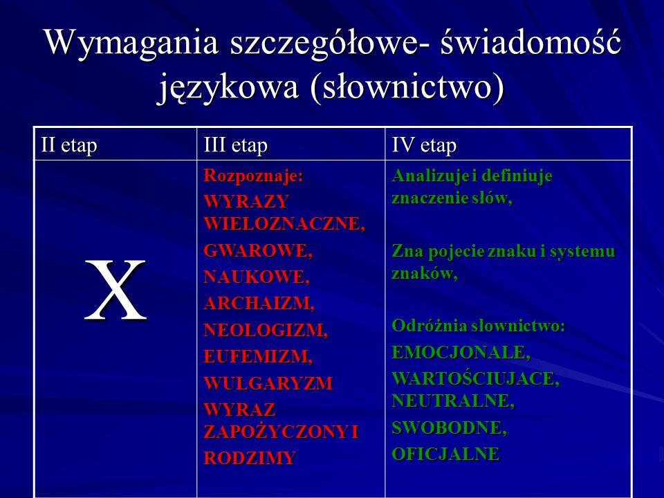 Wymagania szczegółowe- świadomość językowa (słownictwo) II etap III etap IV etap XRozpoznaje: WYRAZY WIELOZNACZNE, GWAROWE,NAUKOWE,ARCHAIZM,NEOLOGIZM,