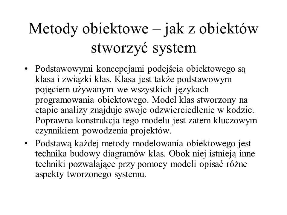 Metody obiektowe – jak z obiektów stworzyć system Podstawowymi koncepcjami podejścia obiektowego są klasa i związki klas.