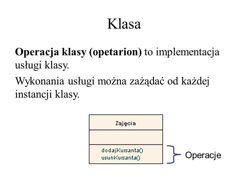 Klasa Operacja klasy (opetarion) to implementacja usługi klasy. Wykonania usługi można zażądać od każdej instancji klasy. Operacje