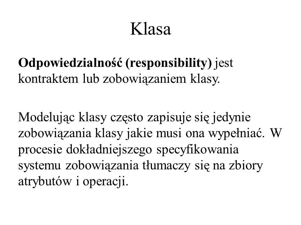 Klasa Odpowiedzialność (responsibility) jest kontraktem lub zobowiązaniem klasy.