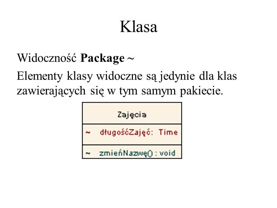 Klasa Widoczność Package~ Elementy klasy widoczne są jedynie dla klas zawierających się w tym samym pakiecie.