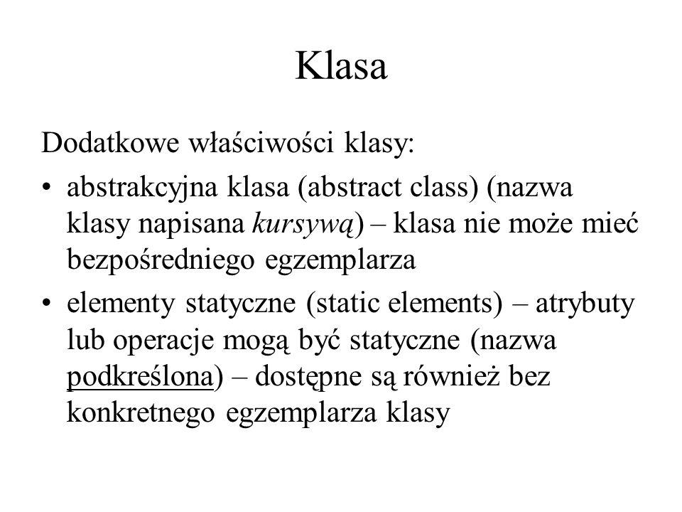 Klasa Dodatkowe właściwości klasy: abstrakcyjna klasa (abstract class) (nazwa klasy napisana kursywą) – klasa nie może mieć bezpośredniego egzemplarza elementy statyczne (static elements) – atrybuty lub operacje mogą być statyczne (nazwa podkreślona) – dostępne są również bez konkretnego egzemplarza klasy