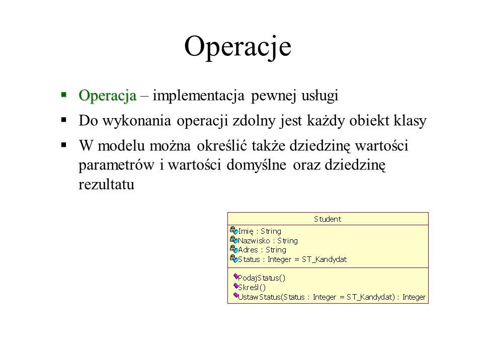 Operacje  Operacja  Operacja – implementacja pewnej usługi  Do wykonania operacji zdolny jest każdy obiekt klasy  W modelu można określić także dziedzinę wartości parametrów i wartości domyślne oraz dziedzinę rezultatu