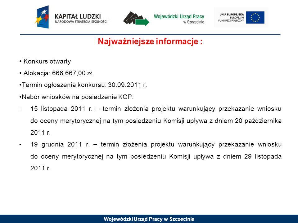 Wojewódzki Urząd Pracy w Szczecinie Najważniejsze informacje : Konkurs otwarty Alokacja: 666 667,00 zł.