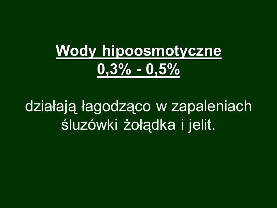 Wody hipoosmotyczne 0,3% - 0,5% Wody hipoosmotyczne 0,3% - 0,5% działają łagodząco w zapaleniach śluzówki żołądka i jelit.
